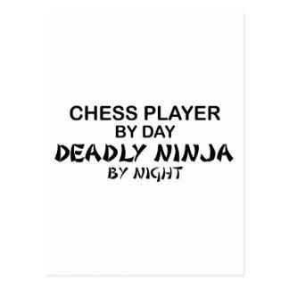 Ajedrez Ninja mortal por noche Tarjetas Postales