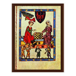 Ajedrez, por Meister Der Manessischen Liederhandsc Tarjeta Postal