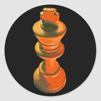 Ajedrez, rey blanco, Stylised (1) Pegatina Redonda