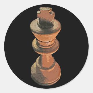 Ajedrez, rey blanco, Stylised (2) Pegatina Redonda