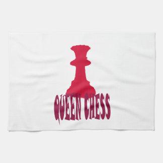 Ajedrez rojo de la reina toalla de cocina