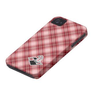 Ajedrez rojo de la tela escocesa iPhone 4 cobertura