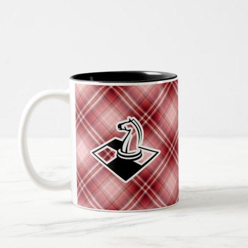 Ajedrez rojo de la tela escocesa tazas