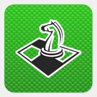 Ajedrez verde pegatina cuadrada