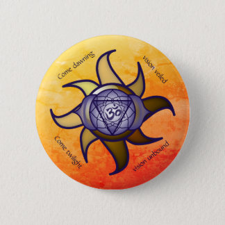 """Ajna Chakra """"Third Eye"""" Yoga Insight Lotus Button"""