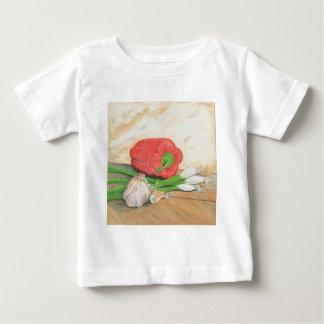 Ajo, cebollas y pimienta playera para bebé