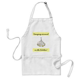 ¡ajo, colgando alrededor, en la cocina! delantal