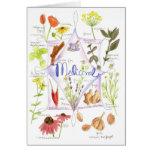 Ajo medicinal Notecard de la amapola del Echinacea Felicitaciones
