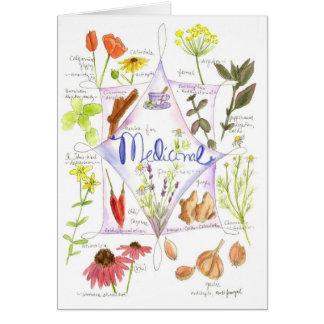 Ajo medicinal Notecard de la amapola del Echinacea Tarjeta Pequeña