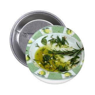 Ajo y aceite de oliva infundido hierba pin redondo de 2 pulgadas