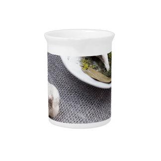 Ajo y especias en un fondo gris de la tela jarras de beber