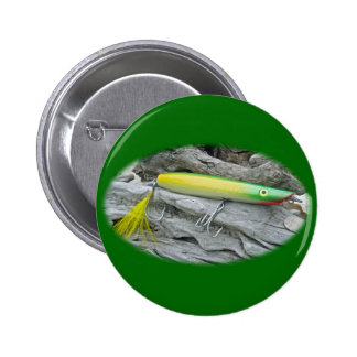 AJS Popper Green Greenie Saltwater Fishing Lure Pinback Button