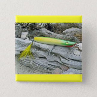 "AJS Popper ""Green Greenie"" Saltwater Fishing Lure Pinback Button"