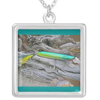 """AJS Popper """"Water Dragon"""" Saltwater Fishing Lure Square Pendant Necklace"""