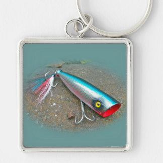 AJS Saltwater Lure Popper Blue Dragon Items Silver-Colored Square Keychain