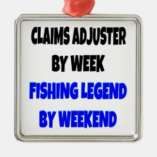 Ajustador de demandas de la leyenda de la pesca adorno cuadrado plateado