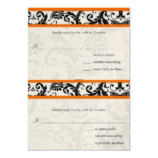 Ajuste anaranjado RSVP del damasco negro que casa Invitación 12,7 X 17,8 Cm