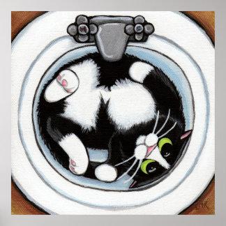 Ajuste apretado (v3) en arte del gato de Brown el  Póster