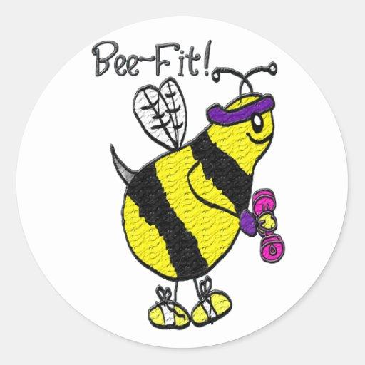 ¡ajuste de la abeja! pegatina redonda