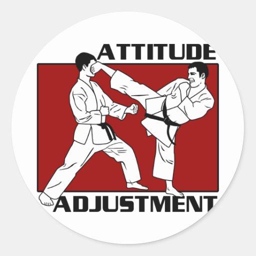 Ajuste de la actitud etiqueta redonda