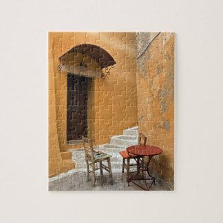 Ajuste de la tabla de la acera, Chania, Creta, Gre Rompecabeza Con Fotos
