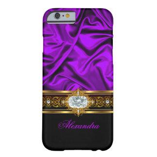 Ajuste de seda púrpura elegante de la joya del oro funda de iPhone 6 barely there
