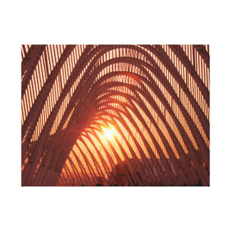 Ajuste de Sun detrás del puente Impresiones En Lona