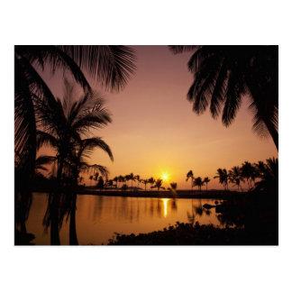 Ajuste de Sun en la bahía de Anaeho'omalu, isla gr Postales