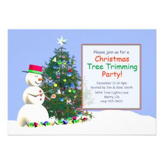 Ajuste del árbol de navidad del muñeco de nieve invitaciones personalizada