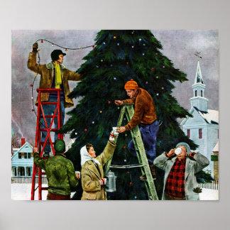 Ajuste del árbol de navidad poster