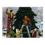 Ajuste del árbol de navidad postales