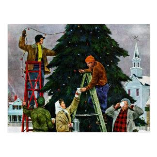 Ajuste del árbol de navidad tarjetas postales