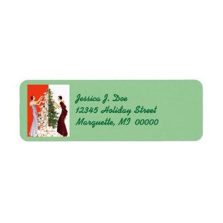 Ajuste del árbol del art déco que adorna etiquetas etiqueta de remite