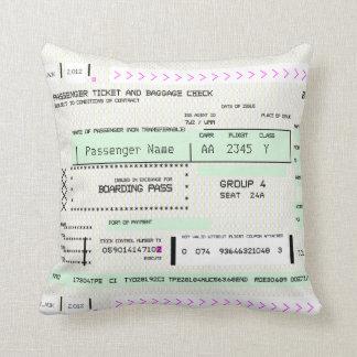 Ajuste este boleto del embarque de la línea aérea cojín