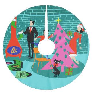 Ajuste retro la falda del árbol de navidad falda para arbol de navidad de poliéster