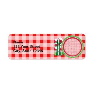 Ajuste rojo y blanco de la tabla de la sandía etiquetas de remite