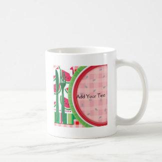 Ajuste rojo y blanco de la tabla de la sandía tazas de café
