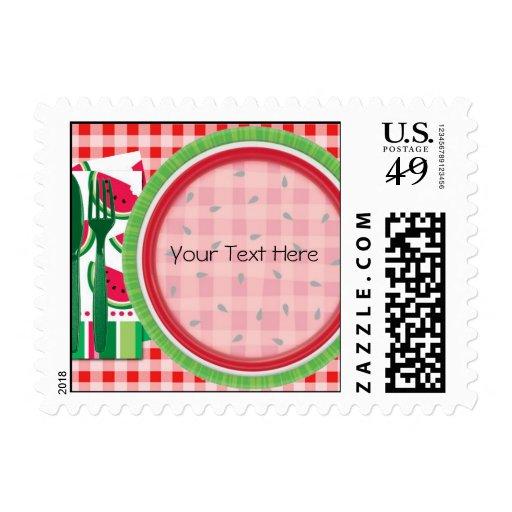Ajuste rojo y blanco de la tabla de la sandía timbres postales