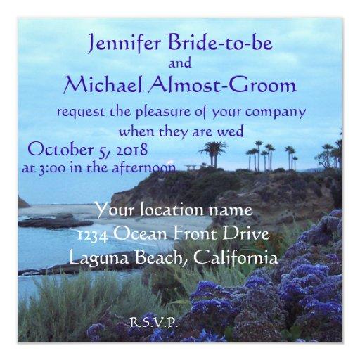 Ajuste romántico del boda de playa invitaciones personales