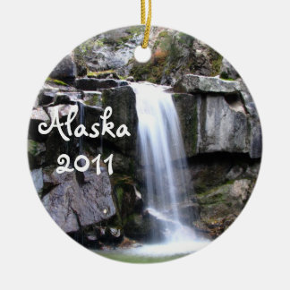 AJW Alaskan Jungle Waterfall Double-Sided Ceramic Round Christmas Ornament