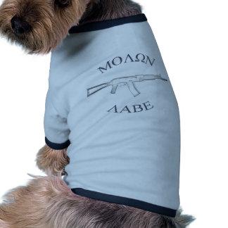 AK105 y Molon Labe Camiseta De Mascota