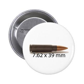 AK47 7.62 x 39mm Ammo Round Pinback Button