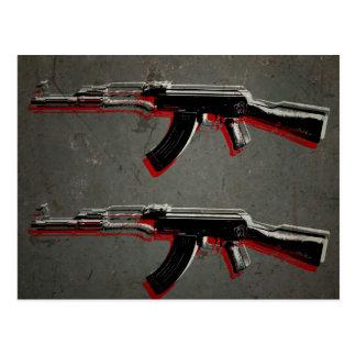 AK47 Assault Rifle Pop Art Postcard