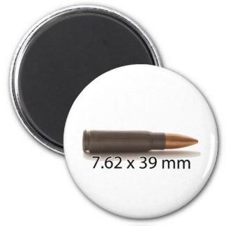 AK47 munición de 7,62 x de 39m m redonda Imán Redondo 5 Cm