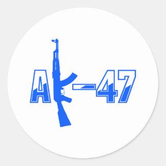 AK-47 AKM Assault Rifle Logo Blue.png Classic Round Sticker