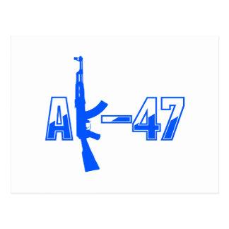 AK-47 AKM Assault Rifle Logo Blue.png Postcard