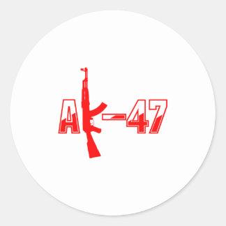 AK-47 AKM Assault Rifle Logo Red.png Classic Round Sticker