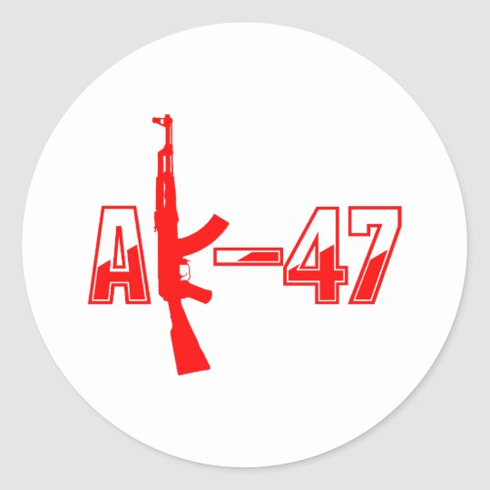 AK-47 AKM Assault Rifle Logo Red.png Classic Round Sticker