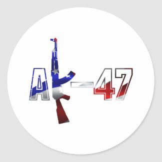 AK-47 AKM Assault Rifle Logo Red White And Blue.pn Classic Round Sticker