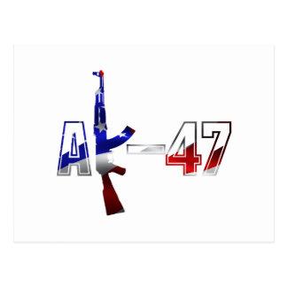 AK-47 AKM Assault Rifle Logo Red White And Blue.pn Postcard